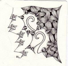 Ein Zentangle aus den Mustern Tamistar, Socc, Beamz,  gezeichnet von Ela Rieger, CZT