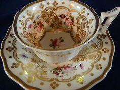 Antique RARE Yates Tea Cup and Saucer H P Floral London Shape Lush Gilt C1825