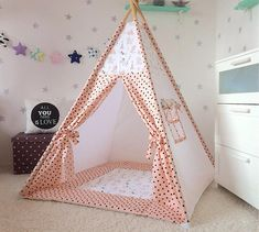 Teepee with mat Childrens teepee Wigwam Kids Teepee от Vigkids Diy Teepee, Kids Teepee Tent, Play Tents, Baby Tent, Childrens Playhouse, A Frame Tent, Wooden Poles, Camping Chairs, Play Houses