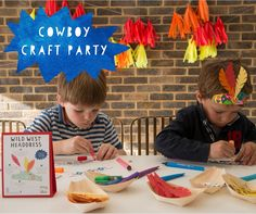 Cowboy / Wildwest craft party box from Cotton Twist. Keep your little guests entertained with their make your own Wild West Headdresses. Yee ha!