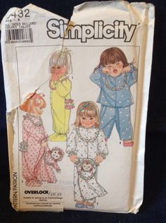 Simplicity 9432 sizes 1/2, 1, 2, 3 copyright 1989 pajamas