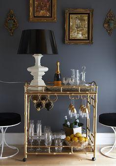 gray and gold interior design bar cart styling by ashlina kaposta adore home magazine decorating color schemes