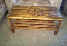 Peace Sign Coffee Table Reclaimed Pallet Wood by TerramaeAndCo
