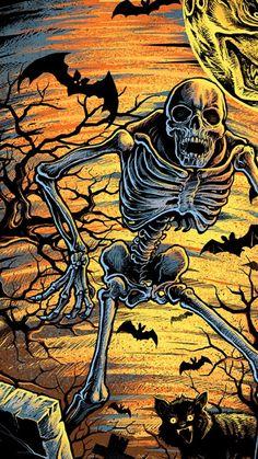 Halloween 4, Skeletons, Skulls, Comic Books, Comics, Cover, Art, Art Background, Kunst