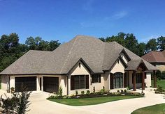The rugged exterior of Architectural Designs House Plan 60648ND wraps around 3 beds, 2.5 baths and has 2,200+ square feet of living.  But wait, there's more...  There are two more versions, each larger and with bonus rooms over the garage.  Which one do you want to build? Ready when you are!