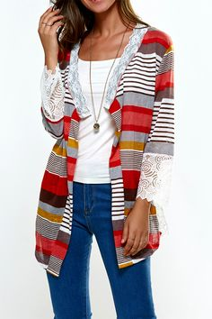 $14.39 Lace Splicing Colorful Print Thin Cardigan
