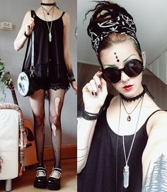 💩 How to goth in summer: fishnets and lace, flowy but short, hair outta neck (that's where the heat controller of yer brain sits 👽), big ass sunglasses & sunscreen, lots of it. Alternative Fashion Indie, Alternative Outfits, Dark Fashion, Gothic Fashion, Witch Fashion, Summer Outfits, Casual Outfits, Cute Outfits, Fashion Outfits