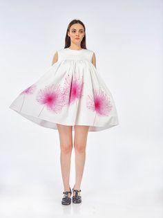 Dandelion Dress by Ioana Petre Store on Etsy- watercolor, illustration, pink, dandelion