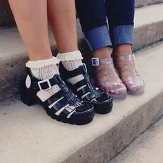 socks with jelly | shoes jelly shoes white socks ankle socks girl tumblr fashion ...