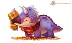 Autumn Triceratops by Piper Thibodeau