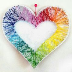 Rainbow heart string art