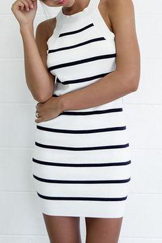 Wrap Front Stripe Pattern Irregular Hem Midi Dress with Belt from mobile - US$19.95 -YOINS