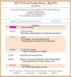 NLP TA circle Chennai_24th May 2015 Agenda