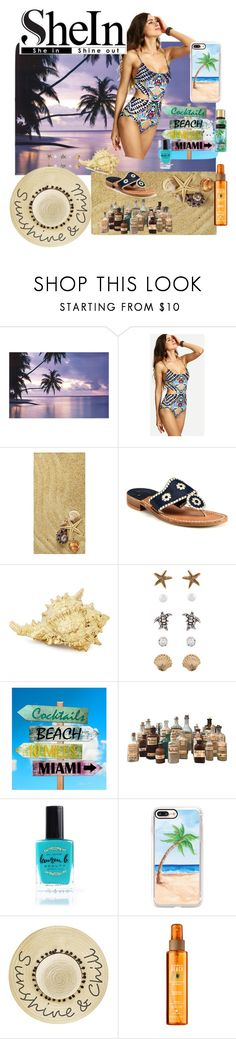 """Shein Tribal Swimsuits"" by laneywyble ❤ liked on Polyvore featuring WithChic, Jack Rogers, Accessorize, Lauren B. Beauty, Casetify and Betsey Johnson"