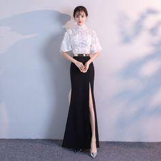 Chic / Beautiful Evening Dresses  2018 Empire Metal Sash Lace Tassel High Neck 1/2 Sleeves Floor-Length / Long Formal Dresses