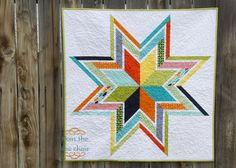 "Baby Star Quilt  45 degree diamonds, can easily adjust size and number of ""borders"" around the star"