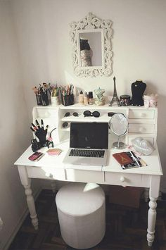 A delightful vanity to combine with the makeup case I want to make. I love the drawers and that it's a desk, so I could use my computer to look at makeup tutorials while I try them! I would use a bigger mirror with lights like the vintage vanities.