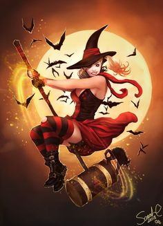 Witchy Harley Quinn by Forty-Fathoms on DeviantArt Fantasy Witch, Witch Art, Dark Fantasy Art, Fantasy Artwork, Halloween Artwork, Halloween Drawings, Halloween Painting, Cartoon Witch, Witch Pictures
