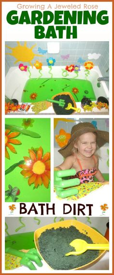 Build excitement for Spring with a Gardening Bath! Includes a recipe for bath dirt for 100% tub safe bath time sensory play!
