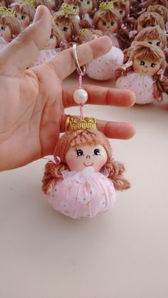Princess doll souvenir key chain on Fabric Toys, Fabric Crafts, Doll Crafts, Sewing Crafts, Diy And Crafts, Crafts For Kids, Felt Christmas Decorations, Sewing Dolls, Fairy Dolls