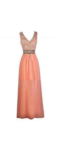 Lily Boutique Golden Jewel Embellished Dress in Peachy Pink, $60 Peachy Pink Embellished Maxi Dress, Cute Prom Dress, Pink Lily Boutique Maxi Dress www.lilyboutique.com