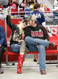 Gwen Stefani and Blake Shelton Take Their Love to the Football Field