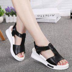 Nova mulheres verão ao ar livre couro macio ocasional confortável ata acima planas sapatos sandálias de cunha