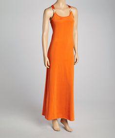 Look what I found on #zulily! Orange Halter Maxi Dress #zulilyfinds
