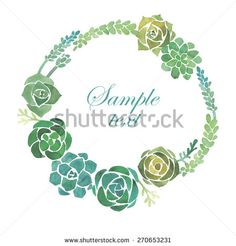 Watercolor succulents frame - stock vector