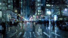Jeremy Mann é um pintor de San Francisco (EUA) que cria obras sensacionais a óleo. São grandes obras-primas de luz e cor que contrastam com suas pinceladas enérgicas. Eu adoro o trabalho dele, e aqui destacamos as cenas de Nova York e San Francisco.