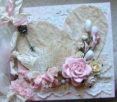 pink shabby chic   PInk Shabby Chic photo album chipboard scrapbook 6x6 by ilovethis