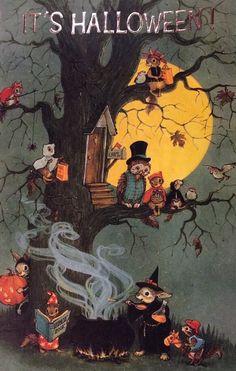 Owls on Halloween. It won't be long now. Eulen an Halloween. Retro Halloween, Halloween Tags, Halloween Kunst, Vintage Halloween Cards, Halloween Prints, Vintage Holiday, Holidays Halloween, Vintage Halloween Costumes, Halloween Tumblr