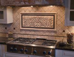 Photo of Andersen Ceramics - Austin, TX, United States. Chardonnay tile with Plain Frame liners. Bronze rope liner provided by customer. Stone Kitchen, Kitchen Hoods, Granite Kitchen, Kitchen Backsplash, Kitchen And Bath, Backsplash Ideas, Backsplash Wallpaper, Travertine Backsplash, Kitchen Cabinets Decor