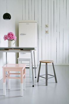 Sometimes all you need to do to get a fresh look is pare down and declutter. Painting a kitchen stool ballet pink doesn't hurt either!