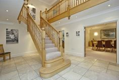 6 bedroom detached house for sale in Amersham Road, CHESHAM BOIS - Rightmove. Luxury Staircase, Timber Staircase, Wood Stairs, Stair Railing, Staircase Design, Staircase Ideas, Hallway Ideas, Railings, Self Build Houses