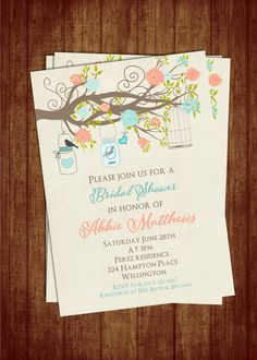 Teal and Coral Bridal Shower Invitation with by 3PeasPrints, $20.00