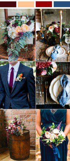 navy blue, burgundy and peach autumn wedding colors