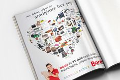 A magazine ad design for Banio. We tried to design a heart with Banio's products.