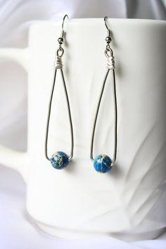 Blue  Marbled Bead Wire Dangle Earrings