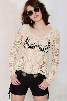 custom make want crochet blouse crochet top et item 1050 by mooncakeshop T-shirt Au Crochet, Pull Crochet, Crochet Blouse, Crochet Stitch, Summer Knitting, Fashion Moda, Crochet Fashion, Sweater Shop, Cream Sweater