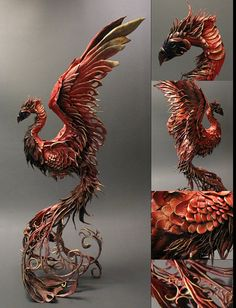 Phoenix.... Sculpture  CUSTOM ORDER Personal Creature by creaturesfromel on Etsy, $525.00