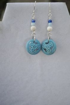 Blue button earrings vintage button earrings by Rocks2Gems2Wire