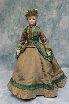 "17"" Lovely Antique Jumeau French Fashion Doll Antique Gown Shoes Under Set 