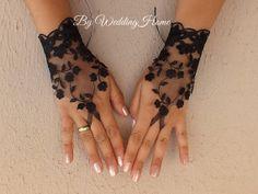 Black tulle lace gloves embroidery bridal wedding fingerless burlesque Halloween,  body tattoo romantic bridesmaid glove