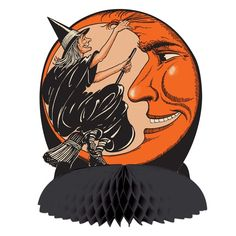 Witch flew on her broom to the moon and back just to pull his black hair. Beware, how does she dare this Halloween. It's going to be a long night! Witch and orange crescent Moon with black tissue cent