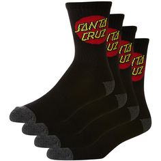 Santa Cruz Cruz Sock 4 Pack (20 AUD) ❤ liked on Polyvore featuring men's fashion, men's clothing, men's socks, black, men and mens socks