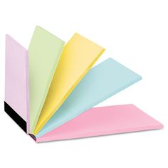 Single pad of self-adhesive notes offers five different sizes in five different colors to suit your every reminder or note need.  Avery Steps Sticky Note