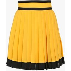Balmain Pleated silk-georgette mini-skirt (109.440 RUB) ❤ liked on Polyvore featuring skirts, mini skirts, balmain, bottoms, balmain skirt, short mini skirts, pleated miniskirt and yellow skirt