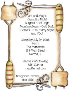 Smores, Marshmallows Campfire Cookout Party Invitations SET OF 10 for $11.00