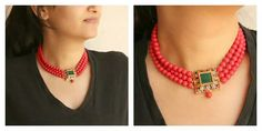 Three layer choker Coral Jewelry, India Jewelry, Bead Jewellery, Wedding Jewelry, Beaded Jewelry, Jewelery, Beaded Necklace, Necklaces, Schmuck Design